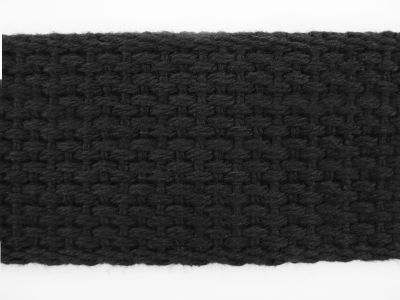 "1.25"" Black Lightweight Cotton Webbing"